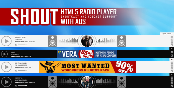 SHOUT - HTML5 Radio Player ShoutCast and IceCast Support With Ads