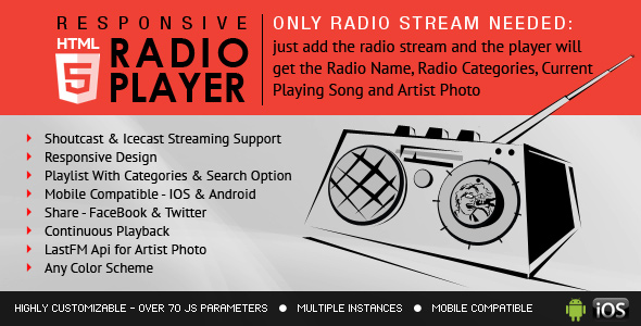 IceCast ShoutCast HTML5 Radio Player With Playlist